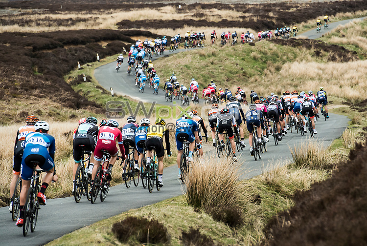 Picture by Alex Broadway/ASO/SWpix.com - 29/04/17 - Cycling - 2017 Tour de Yorkshire - Stage Two - Tadcaster to Harrogate - The peloton descends from Cote de Lofthouse.<br /> <br /> NOTE : FOR EDITORIAL USE ONLY. THIS IS A COPYRIGHT PICTURE OF ASO. A MANDATORY CREDIT IS REQUIRED WHEN USED WITH NO EXCEPTIONS TO A.BROADWAY/ASO