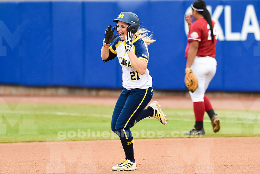 The University of Michigan women's softball team;5-0 victory over Alabama in the first round of the Women's College World Series held at the ASA Hall of Fame Stadium in Oklahoma City,Okla. on 5/28/15.