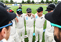 2nd December, Hamilton, New Zealand; Kane Williamson talks to his team mates on day 4 of the 2nd test cricket match between New Zealand and England  at Seddon Park, Hamilton, New Zealand.