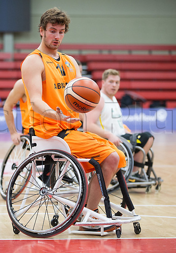 03.07.2016. Leicester Sports Arena, Leicester, England. Continental Clash Wheelchair Basketball Holland versus Australia. Mattijs Bellers (NLD) in action during the match