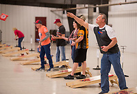 NWA Democrat-Gazette/BEN GOFF @NWABENGOFF<br /> Kevin Irwin with the Plato Boys from Plato, Mo. takes practice tosses Friday, March 9, 2018, during the American Cornhole Organization Bentonville Major at the Benton County Fairgrounds and Expo Center in Bentonville. The tournament continues Saturday with World Doubles and World Singles divisions. Organizers say spots are still open to enter Saturday's events, with no entry fee, if cornholers show up by 9:30 a.m.
