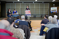 Shenna Bellows, Democratic candidate in Maine for US Senate, speaks to the Portland Democratic City Committee town caucus in the East End School cafeteria in Portland, Maine, USA, on March 3, 2014. Bellows is trying to unseat incumbent Maine Republican Senator Susan Collins in the 2014 election. The town caucus had speeches from various other local candidates and also served to choose delegates for the 2014 Maine State Democratic Caucus.