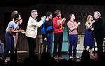 "Michael Hsu Rosen, Mercedes Ruehl, Moises Kaufman, Michael Urie, Ward Horton, Jack DiFalco, Harvey Fierstein and Roxanna Hope Radja during the Broadway Opening Night Curtain Call for ""Torch Song"" at the Hayes Theater on November 1, 2018 in New York City."