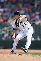 Charlotte Knights relief pitcher Brad Goldberg (21) in action against the Indianapolis Indians at BB&T BallPark on June 19, 2016 in Charlotte, North Carolina.  The Indians defeated the Knights 6-3.  (Brian Westerholt/Four Seam Images)