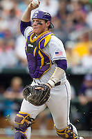 LSU Tigers catcher Kade Scivicque (22) runs a TCU Horned Frogs back towards third base during a rundown in the NCAA College World Series on June 14, 2015 at TD Ameritrade Park in Omaha, Nebraska. TCU defeated LSU 10-3. (Andrew Woolley/Four Seam Images)