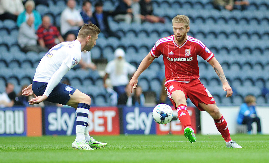 Middlesbrough's Adam Clayton under pressure from Preston North End's Paul Gallagher<br /> <br /> Photographer Kevin Barnes/CameraSport<br /> <br /> Football - The Football League Sky Bet Championship - Preston North End v Middlesbrough -  Sunday 9th August 2015 - Deepdale - Preston<br /> <br /> &copy; CameraSport - 43 Linden Ave. Countesthorpe. Leicester. England. LE8 5PG - Tel: +44 (0) 116 277 4147 - admin@camerasport.com - www.camerasport.com