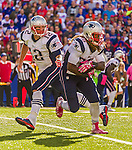12 October 2014: New England Patriots quarterback Tom Brady (12) hands off to running back Brandon Bolden (38) during a game against the Buffalo Bills at Ralph Wilson Stadium in Orchard Park, NY. The Patriots defeated the Bills 37-22 to move into first place in the AFC Eastern Division. Mandatory Credit: Ed Wolfstein Photo *** RAW (NEF) Image File Available ***