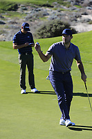Former NFL Dallas Cowboys quarterback and now CBS commentator Tony Romo sinks his birdie putt on the 4th green at Spyglass Hill during Thursday's Round 1 of the 2018 AT&amp;T Pebble Beach Pro-Am, held over 3 courses Pebble Beach, Spyglass Hill and Monterey, California, USA. 8th February 2018.<br /> Picture: Eoin Clarke | Golffile<br /> <br /> <br /> All photos usage must carry mandatory copyright credit (&copy; Golffile | Eoin Clarke)