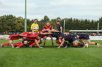 A scrum during the Greene King IPA Championship match between London Scottish Football Club and Hartpury RFC at Richmond Athletic Ground, Richmond, United Kingdom on 28 October 2017. Photo by David Horn.