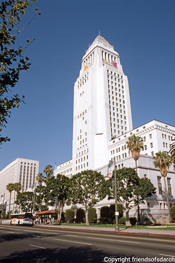 """Los Angeles: Los Angeles City Hall, 1926-28. Austin, Parkinson, Martin; Whittlesey. (""""Highly influenced by Bertram Goodhue's Nebraska Capitol""""."""