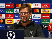 10th March 2020; Anfield, Liverpool, Merseyside, England; UEFA Champions League, Liverpool versus Atletico Madrid, Press Conference; Liverpool manager Jurgen Klopp speaking to the media during today's press conference at Anfield ahead of tomorrow's Champions League match against Atletico Madrid