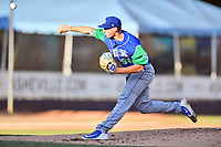 Lexington Legends starting pitcher Charlie Neuweiler (31) delivers a pitch during a game against the Asheville Tourists at McCormick Field on July 1, 2019 in Asheville, North Carolina. The Tourists defeated the Legends 9-8. (Tony Farlow/Four Seam Images)