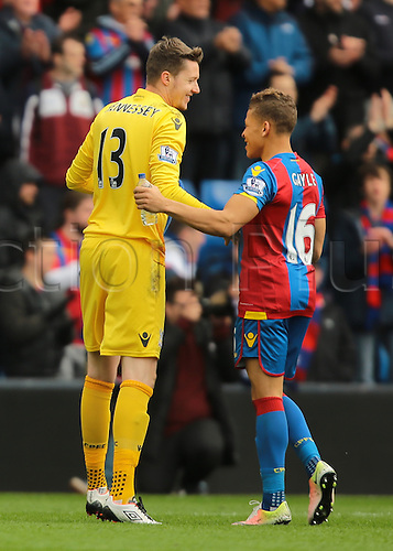 09.04.2016. Selhurst Park, London, England. Barclays Premier League. Crystal Palace versus Norwich. Crystal Palace Goalkeeper Wayne Hennessey and Crystal Palace Forward Dwight Gayle celebrate their win at full time