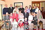 CELEBRATION: Little Liam Musgrave, son of William and Clodagh Musgrave, Court, Glin, who was christened in the Church of the Immaculate Conception, Glin, on Saturday, pictured with family and friends at the celebrations afterwards in Kirby's Lantern Hotel, Tarbert. Pictured front l-r: Ro?isin and Gra?inne Musgrave with Mark Aulsberry. 2nd l-r: Aideen Aulsberry, William (grandfather) and Gillian Musgrave, Nancy Murphy (grandmother), Clodagh and William Musgrave with baby Liam, Bla?thin and  Mary Theresa Musgrave (grandmother) with Rudhrai? and Eve Howman. Back l-r: Edmond Power, Carl Musgrave, Lorraine Power, Fr Madigan, Geraldine Aulsberry and Marina Howman.