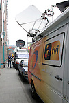16 June 2006: Television satellite trucks from Portugal line the street of the team's hotel the day before Portugal's game in Frankfurt, site of several games during the FIFA 2006 World Cup.