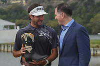 Bubba Watson (USA) holds a pair of cowboy boots presented by Dell CEO Michael Dell for winning the World Golf Championships, Dell Match Play, Austin Country Club, Austin, Texas. 3/25/2018.<br /> Picture: Golffile | Ken Murray<br /> <br /> <br /> All photo usage must carry mandatory copyright credit (© Golffile | Ken Murray)