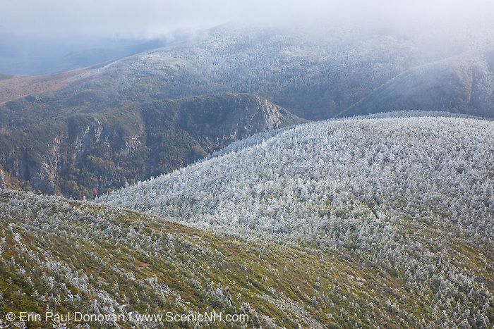 Franconia Notch State Park - Eagle Cliff from the summit of Cannon Mountain in the White Mountains, New Hampshire USA.