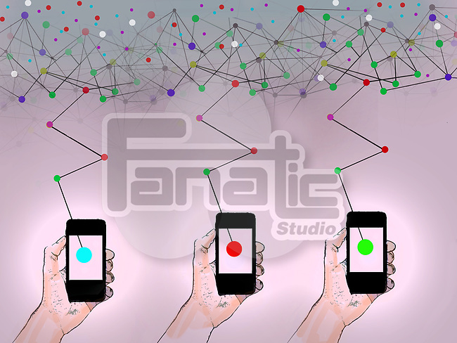 Concept image of three hand holding smartphones that are connected by internet
