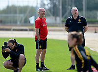 20180301 - LARNACA , CYPRUS :  Belgian team managers Rudy Vanderelst and Hubert De Neef (right) pictured during a Matchday -1 training from The Belgian Red Flames prior to their game against Spain , on Thursday 1 March 2018 at the Alpha Sports Grounds in Larnaca , Cyprus . This will be the second game in group B for Belgium during the Cyprus Womens Cup , a prestigious women soccer tournament as a preparation on the World Cup 2019 qualification duels. PHOTO SPORTPIX.BE | DAVID CATRY