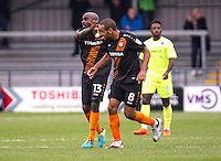 Curtis Weston of Barnet celebrates his goal with Jamal Campbell-Ryce of Barnet during the EFL Sky Bet League 2 match between Barnet and Colchester United at The Hive, London, England on the 17th September 2016. Photo by Liam McAvoy.