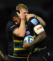 David Ribbans and Courtney Lawes of Northampton Saints after the match. Gallagher Premiership match, between Northampton Saints and Harlequins on September 7, 2018 at Franklin's Gardens in Northampton, England. Photo by: Patrick Khachfe / JMP