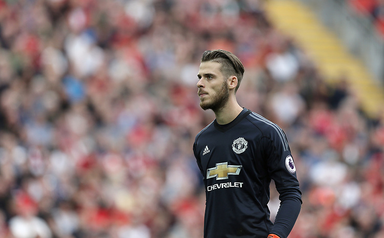 Manchester United's David De Gea<br /> <br /> Photographer Rich Linley/CameraSport<br /> <br /> The Premier League - Liverpool v Manchester United - Saturday 14th October 2017 - Anfield - Liverpool<br /> <br /> World Copyright &copy; 2017 CameraSport. All rights reserved. 43 Linden Ave. Countesthorpe. Leicester. England. LE8 5PG - Tel: +44 (0) 116 277 4147 - admin@camerasport.com - www.camerasport.com