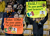 5th February 2019, Molineux Stadium, Wolverhampton, England; FA Cup football, 4th round replay, Wolverhampton Wanderers versus Shrewsbury Town; Wolves supporters holding up player banners in the stands before the kick off