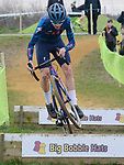 London UK 13th January 2019 British Cyclo Cross National Championships at Cyclo Park Gravesend Kent UK Action Action during the Elite Mens Race won here by Thomas Pidcock TP Racing