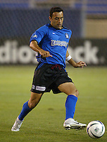 12 May 2004: Ramiro Corrales in action against Sporting Club of Portugal at Spartan Stadium in San Jose, California.   Earthquakes defeated Sporting Club of Portugal, 4-1.   Mandatory Credit: Michael Pimentel / ISI