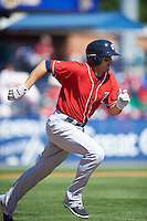 New Hampshire Fisher Cats first baseman Matt Dean (24) runs to first base during a game against the Reading Fightin Phils on June 6, 2016 at FirstEnergy Stadium in Reading, Pennsylvania.  Reading defeated New Hampshire 2-1.  (Mike Janes/Four Seam Images)
