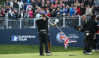 Hugging his caddie Tom Ridley, Matthew Fitzpatrick (ENG) wins the Final Round of the British Masters 2015 supported by SkySports played on the Marquess Course at Woburn Golf Club, Little Brickhill, Milton Keynes, England.  11/10/2015. Picture: Golffile | David Lloyd<br /> <br /> All photos usage must carry mandatory copyright credit (&copy; Golffile | David Lloyd)