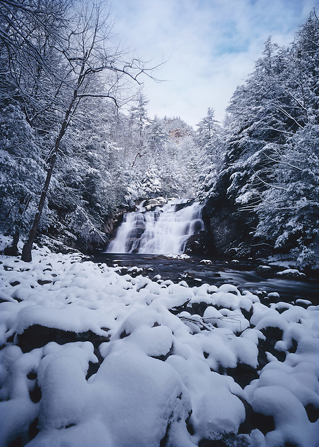 Winter snow blankets Laurel Fork Falls, along the Appalachian Trail, Pond Mountain Wilderness
