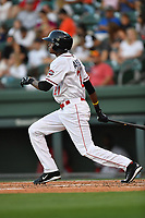 Center fielder Yoan Aybar (21) of the Greenville Drive in a game against the Asheville Tourists on Tuesday, May 2, 2017, at Fluor Field at the West End in Greenville, South Carolina. Asheville won, 7-1. (Tom Priddy/Four Seam Images)