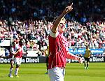 Nederland, Alkmaar, 25 maart 2012.Eredivisie.Seizoen 2011-2012.AZ-RKC Waalwijk (1-0).Johann Berg Gudmundsson van AZ juicht nadat hij een doelpunt heeft gemaakt
