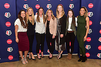 New York, NY - Thursday February 02, 2017: Stephanie McCaffrey, Kristie Mewis, Alyssa Naeher, Christie Rampone, Samantha Mewis, Rose Lavelle, Lynn Williams during a joint NWSL and A+E Networks press conference at the A+E headquarters.