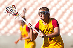 Los Angeles, CA 02/09/13 - Courtney Tarleton (USC #1) in action during the Northwestern vs USC NCAA Women Lacrosse game at the Los Angeles Colliseum.