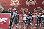 Omega Pharma-Quick Step team sign on in San Gimignano before the start of the 2014 Strade Bianche race over the white dusty gravel roads of Tuscany, Italy. 8th March 2014.<br /> Picture: Eoin Clarke www.newsfile.ie