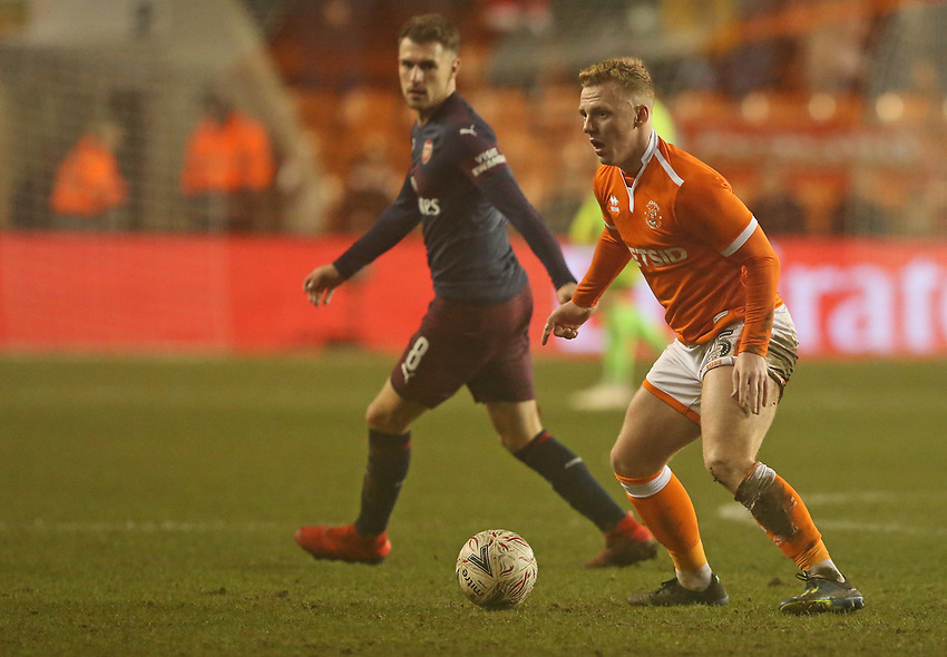 Blackpool's Callum Guy<br /> <br /> Photographer Stephen White/CameraSport<br /> <br /> Emirates FA Cup Third Round - Blackpool v Arsenal - Saturday 5th January 2019 - Bloomfield Road - Blackpool<br />  <br /> World Copyright © 2019 CameraSport. All rights reserved. 43 Linden Ave. Countesthorpe. Leicester. England. LE8 5PG - Tel: +44 (0) 116 277 4147 - admin@camerasport.com - www.camerasport.com