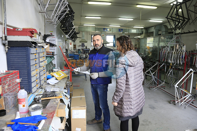 Barbara and Marco on the shop floor of the Tommasini factory based in Grosseto, Tuscany, Italy 6th March 2017.<br /> Picture: Eoin Clarke | Newsfile<br /> <br /> <br /> All photos usage must carry mandatory copyright credit (© Newsfile | Eoin Clarke)