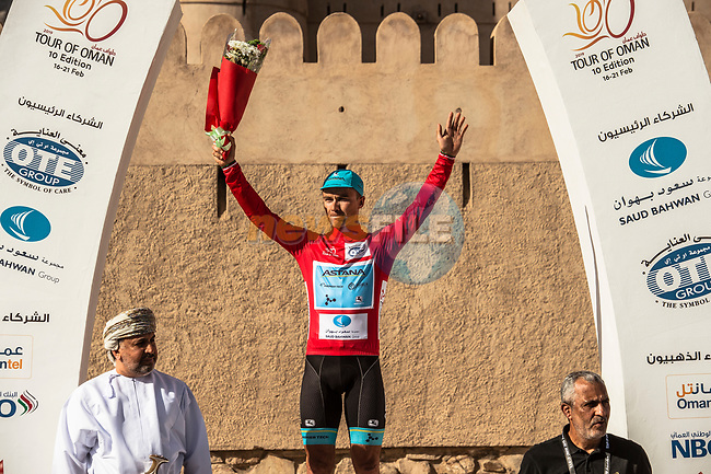Race leader Alexey Lutsenko (KAZ) Astana Pro Team wins Stage 5 his 3rd stage win of the 10th Tour of Oman 2019, running 152km from Samayil to Jabal Al Akhdhar (Green Mountain), Oman. 20th February 2019.<br /> Picture: ASO/Kåre Dehlie Thorstad | Cyclefile<br /> All photos usage must carry mandatory copyright credit (© Cyclefile | ASO/Kåre Dehlie Thorstad)