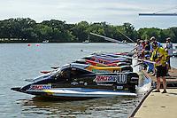 Heat race start: Terry Rinker, (#10), Kris Shepard, (#46), #3, Donny Lick, (#11), Stacy Funk, (#37) (SST-120 class)