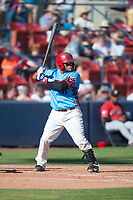 Spokane Indians catcher Isaias Quiroz (11) at bat during a Northwest League game against the Vancouver Canadians at Avista Stadium on September 2, 2018 in Spokane, Washington. The Spokane Indians defeated the Vancouver Canadians by a score of 3-1. (Zachary Lucy/Four Seam Images)