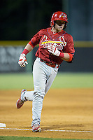 Allen Staton (40) of the Johnson City Cardinals rounds third base after hitting his second home run of the game against the Burlington Royals at Burlington Athletic Park on August 22, 2015 in Burlington, North Carolina.  The Cardinals defeated the Royals 9-3. (Brian Westerholt/Four Seam Images)