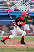 Batavia Muckdogs shortstop Yunier Castillo (7) during a game vs. the Jamestown Jammers at Dwyer Stadium in Batavia, New York July 18, 2010.   Batavia defeated Jamestown 6-1.  Photo By Mike Janes/Four Seam Images