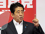 July 11, 2016, Tokyo, Japan - Japanese Prime Minister and ruling Liberal Democratic Party (LDP) president Shinzo Abe speaks before press at the LDP headquarters in Tokyo on Monday, July 11, 2016, one day after the Upper House election. Abe will order his economy minister to make economic stimulation package.     (Photo by Yoshio Tsunoda/AFLO) LWX -ytd-