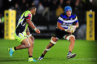 Zach Mercer of Bath Rugby goes on the attack. Aviva Premiership match, between Bath Rugby and Sale Sharks on October 7, 2016 at the Recreation Ground in Bath, England. Photo by: Patrick Khachfe / Onside Images