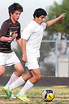 Palos Verdes, CA 01/22/13 - Imahn Moshksar (Peninsula #12) in action during the West vs Peninsula boys varsity soccer game at Peninsula High School.