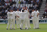 England Celebrate taking the wickets off<br /> <br /> Photographer Rachel Holborn/CameraSport<br /> <br /> Investec Test Series 2017 - Second Test - England v South Africa - Day 1 - Friday 14th July 2017 - Trent Bridge - Nottingham<br /> <br /> World Copyright &copy; 2017 CameraSport. All rights reserved. 43 Linden Ave. Countesthorpe. Leicester. England. LE8 5PG - Tel: +44 (0) 116 277 4147 - admin@camerasport.com - www.camerasport.com