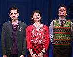 Adam Chanler-Berat, Phillipa Soo and Manoel Felciano during the Broadway Opening Night Performance Curtain Call for 'Amelie' at the Walter Kerr Theatre on April 3, 2017 in New York City