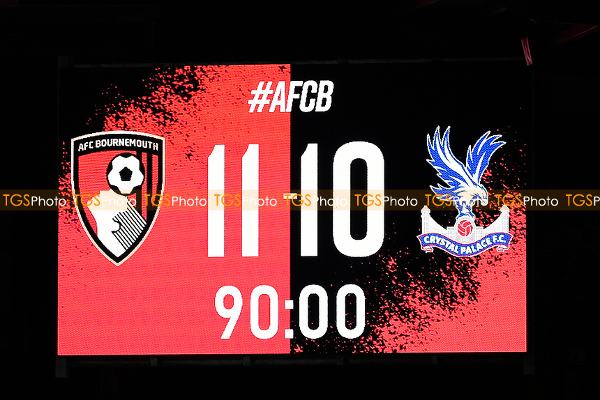 Final score during AFC Bournemouth vs Crystal Palace, Carabao Cup Football at the Vitality Stadium on 15th September 2020